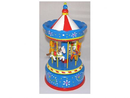 Large Wooden Musical Carousel 44039